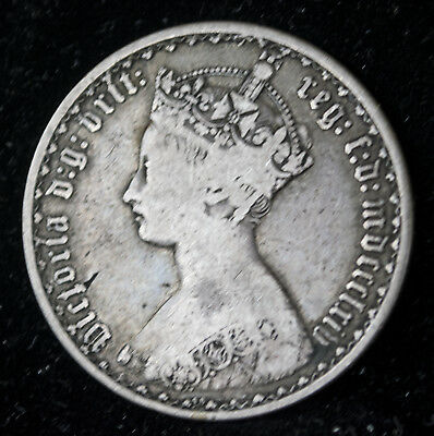 1864 Great Britain Silver Gothic Florin Nice Coin!