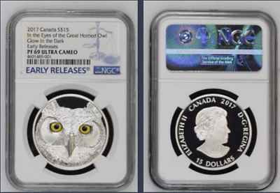 2017 Canada $15 Silver Ngc Pf69 Uc Er Glow In The Dark Eyes Of Great Horned Owl