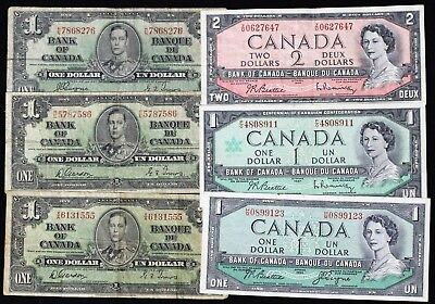 (6) 1937 1954 1967 Canada 1 / 2 Dollar Lot With High Grade Examples
