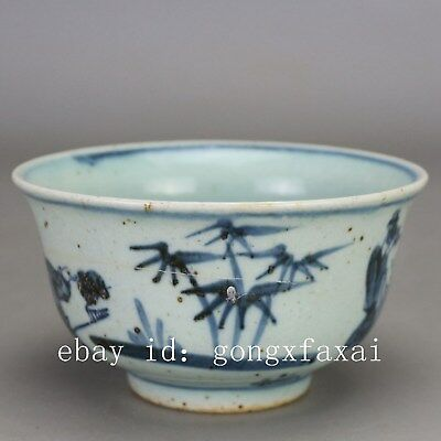 Chinese old hand-carved porcelain Blue & white child play pattern flowerpot