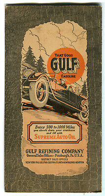 1920's AAA New York & Road Map Gulf Gasoline Gas Oil Auto Graphics Syracuse NY
