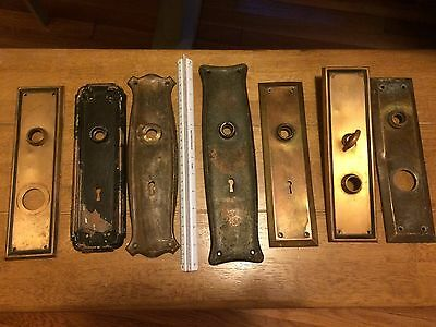 Lot of 7 Antique Victorian Crafts Brass Door Knob Back Plate LARGE Decorative