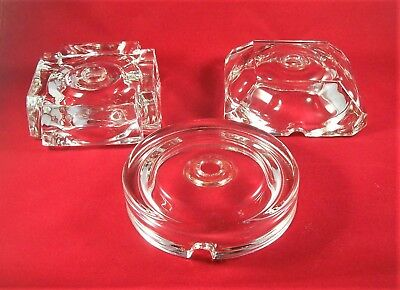 Vintage Crystal Clear Glass Vintage Lamp Base Part ~ 3 Heavy Glass Lamp Bases