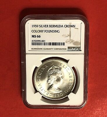 Bermuda -1959 Silver Crown( Colony Founding ),certified By Ngc Ms 66.rare Grade.