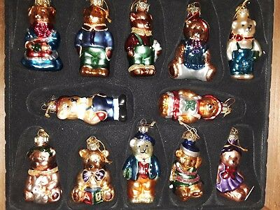 THOMAS PACCONI CLASSICS 2002 SET OF 12 GLASS CHRISTMAS BEARS - Clearance