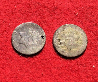 Two Silver Three Cent Coins