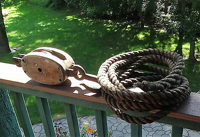 Vintage Large Anvil Brand Wood Pulley Block & Tackle Farm Pulley Steampunk Decor