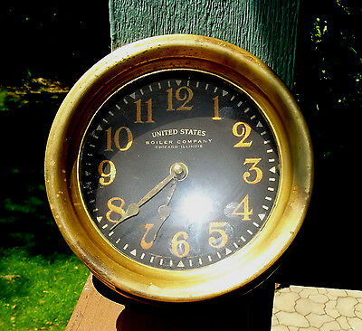 US Boiler Company Reproduction Brass Ships Clock by TIMEWORKS CLOCKS Berkeley CA