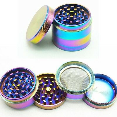 4PCS 40mm Stainless Rainbow Cylinder Tobacco Steel Spice Herb Grinder Mill HOT