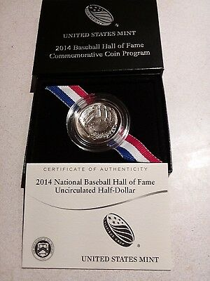 2014 National Baseball Hall Of Fame Uncirculated Half-Dollar In Ogp W/coa