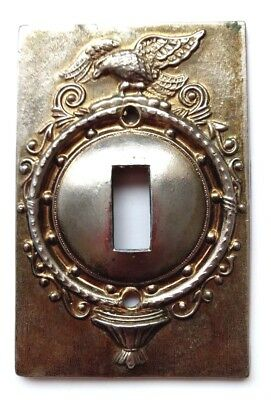 Vtg Brass Metal Light Wall Switch Cover American Eagle Spread Wings Mid Century