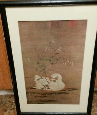 Framed Antique Japanese or Chinese Wall Scroll Goose Scene with Period Marks