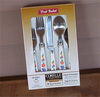 New 20 Pc Corelle Fruit Basket Flatware Silverware Stainless-Too-Apples-Grapes