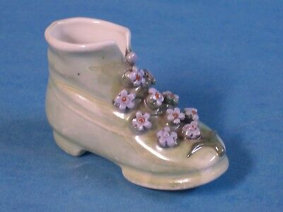 Vintage Porcelain Decorative Shoe-Made in Germany-Green with Flowers