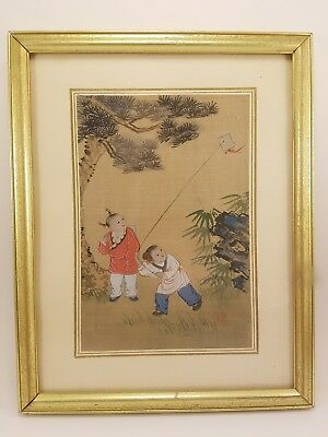 Chinese Silk Painting Children Playing Flying Kite Gold Republic Period Vintage