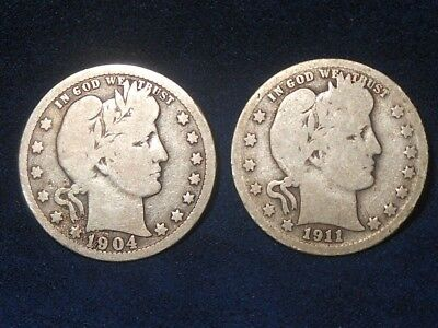 Mixed Lot 25C 1904-O and 1911-d Barber Quarter Lot  (Both G/VG)  ~TWO COINS~
