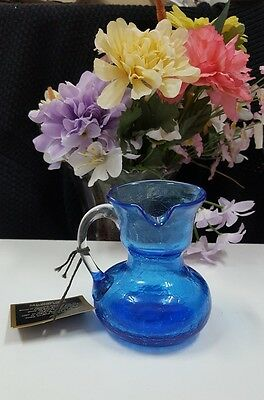 Left Handed Blue Crackle Art Glass Pitcher Clear Glass Applied Handle