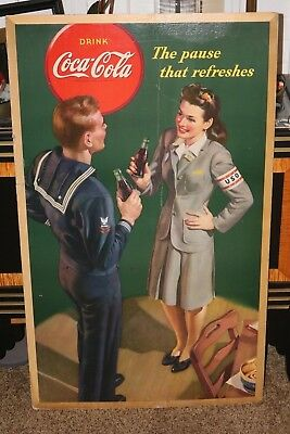 Rare 1943  Large Coca Cola Cardboard Sign  Ww2 The Pause That Refreshes