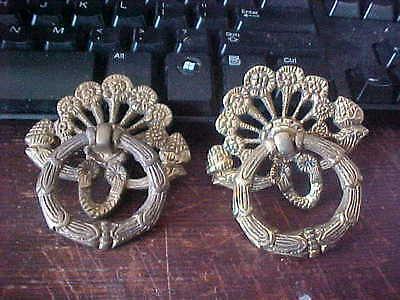 2 Brass Matching Drawer Pull w/Drop Down Ring Drop Deck Pull Etc