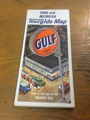 Vintage Gulf Oil Co. Advertising Ohio Michigan Tourgide Map