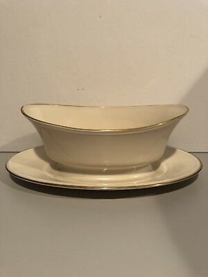 Lenox ETERNAL Gravy Boat and Underplate with Gold Trim EXTREMELY RARE!