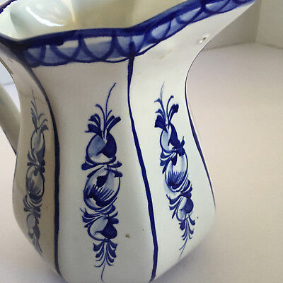 RC&CAL PORTUGAL HAND PAINTED and NUMBERED WHITE AND BLUE DESIGN WATER PITCHER
