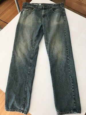 Well Worn Hurley Size 33 Men's Blue Jeans Pants Distressed (A74)