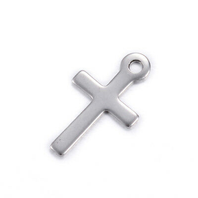 100pcs 304 Stainelss Steel Cross Charms Smooth Small Dangle Pendants Craft 17mm