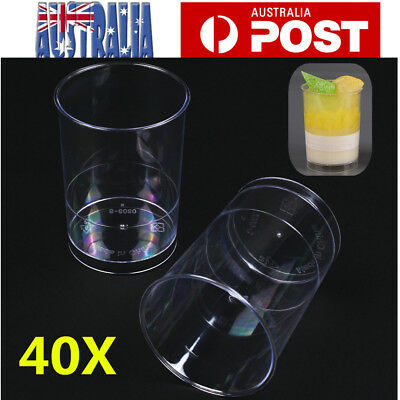40pcs Round Mousse Cake Dessert Cups Clear Plastic Drink Wine Jelly Tumbler Cup