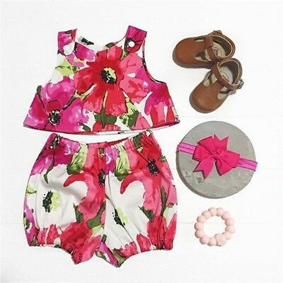 Newborn Infant Kids Baby Toddler Girls Clothes T-shirt Tops+Pants Outfits 2PCS