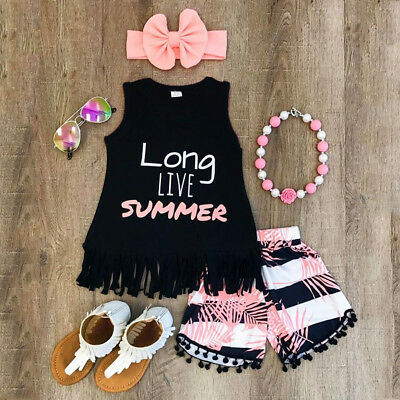 Infant Toddler Kids Girl Clothes Baby Tank T-Shrit+Shorts Pants+Headband Outfit