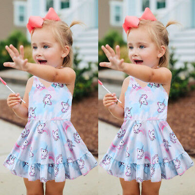 UNICORN Toddler Baby Girls Summer Princess Dress Party Kids Clothes Dresses 1-6Y
