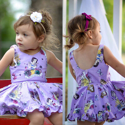 Toddler Kids Baby Girl Cotton Cartoon Princess Sleeveless Dress Clothes Summer