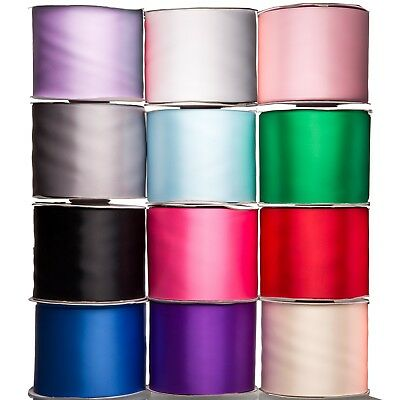 Full 50M Reels of 100mm Satin Sash Ribbon Extra Wide Choice of Colours