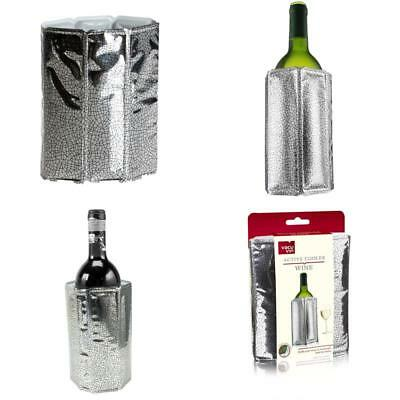 Rapid Ice Bottle Wine Cooler Chiller Sleeve Silver Quick Coolling By Vacu Vin
