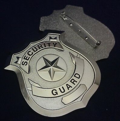 Security Guard / Officer Badge, Metal With Pin Rear, Silver