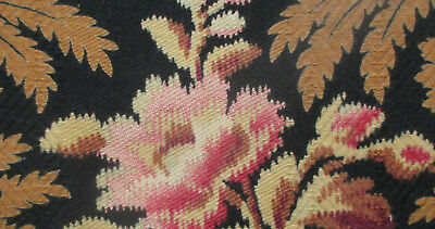 """Antique Napoleon III/Jacobin Fabric Frag. 15"""" x 5""""  Floral's  French"""