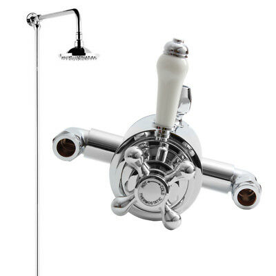 UK Thermostatic Shower Mixer Valve Kits Exposed Victorian Brass WRAS Dual Chrome