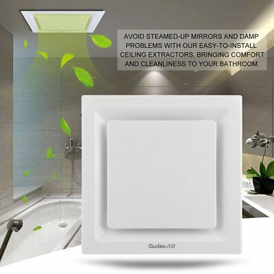 White 20cm Square Ceiling Ducted Exhaust Fan/Air flow/Bathroom/Kitchen/Laundry H