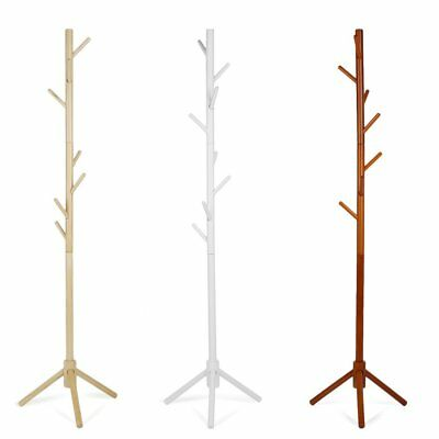 8 Hooks 4 Colors Coat Hat Bag Clothes Rack Stand Tree Style Hanger Wooden HA