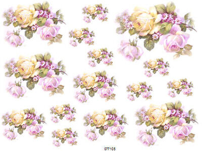 VinTaGe IMaGe FaBuLouS LiLaC & YeLLoW RoSeS ShaBby WaTerSLiDe DeCALs *ChiC*