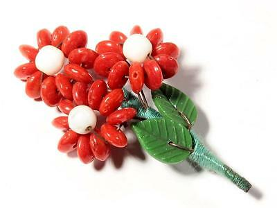 Vintage Czech Art Glass red rondelle beaded Flower bouquet leaf pin brooch