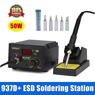 Electric 937D+ 60W Soldering Iron Welding Kit ESD Safe Station 6 Tip Lead Free H
