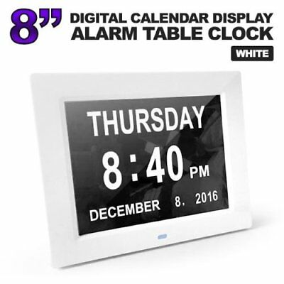 8'' LED Dementia Digital Calendar Day Clock Extra Large Day/Week/Month/Year HA