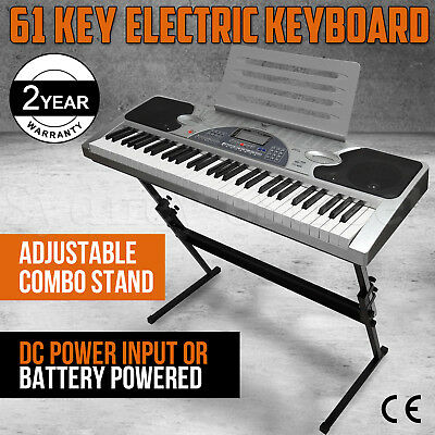 New 61 Keys Electronic Keyboard Electric Piano Digital LCD Display + Combo Stand