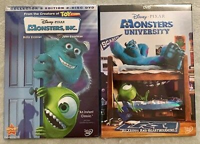 Monsters, INC. & Monsters University (Disney/Pixar 2-DVD Bundle, Brand New, Free