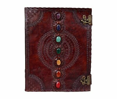 Large Size 7 Chakra Stone Wicca Handmade Book Of Shadows Leather Journal