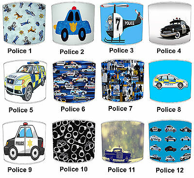 Children`s 999 911 Police Lampshades, Ideal To Match Kids Police Duvet Covers.