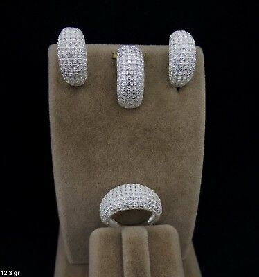 Aaa Quality Sterling 925 Silver Handmade Jewelry Micro-Pave White Topaz Full Set
