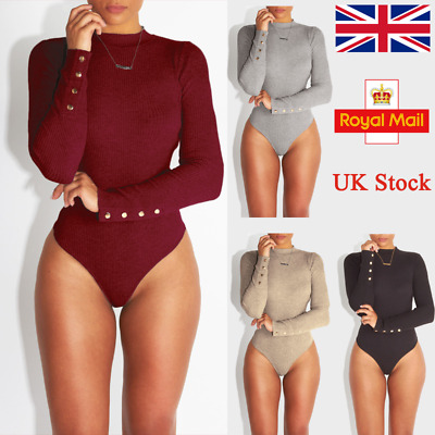 UK Women Ribbed Stretch Leotard Knitted Jumper Fit Bodysuit Bodycon Jumpsuit Top